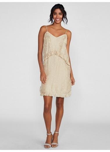 Vekem-Limited Edition İp Askılı Fırfır Detaylı Mini Elbise Bej